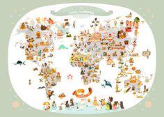 Carte du Monde pour enfants, Affiche Poster / Carte du Monde de Julie Mercier