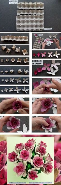 Cómo realizar flores rosas con hueveras de cartón recicladas How to make flowers out fo...