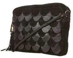 Black Leather Scallop Bag