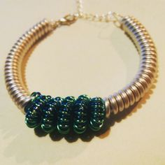 Coiled wire bracelet.