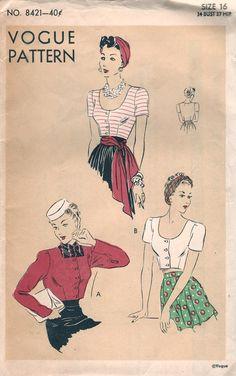 Vogue 8421 circa 1939 Bolero