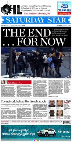 Portada de The Toronto Star (Canadá). Paris terrorists attacks.
