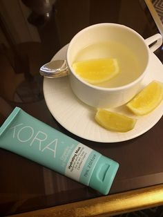 """""""Good morning! First thing: a cup of warm water with lemon and my Kora Organics Hydrating Mask. Drinking warm water with lemon helps kick-start the digestion process for the day and cleanse your system. I also like to apply the Hydrating Mask while I go through my morning routine, especially after a big night. It helps refine pores and remove dead skin cells, and promotes healthy tissue rejuvenation, leaving the skin feeling replenished."""""""