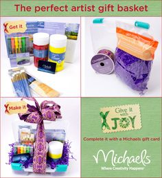 Great presentation - perfect to combine with a gift card!  #Gift #Basket #Artist