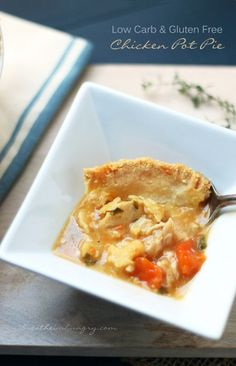 Chicken pot pie! A delicious low carb and gluten free pot pie recipe that can utilize leftover turkey or chicken in a hearty and comforting meal the whole family will love! Low carb, gluten free, and keto friendly.