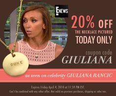 Get the necklace celebrity Giuliana Rancic wore on E! News! 20% off today only with coupon code GIULIANA. #jennypresent #celebrityjewelry #jewelry #giulianarancic