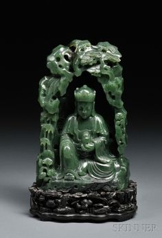 Jade Carving and Wood Stand, China, century, depicting a seated Buddha holding a bottle in his left hand. Le Jade, After Life, Guanyin, Stone Carving, Chinese Art, Asian Art, Sculpture Art, Turquoise, Jewelry Art