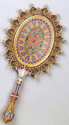 Boucheron - Miroir à Main - Or, Email, Perles, Rubis et Diamants - Années 1860