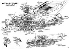 cutaway internals of the versatile Consolidated Catalina flying boat : WWIIplanes Amphibious Aircraft, Ww2 Aircraft, Military Aircraft, Aircraft Engine, Bd Art, Airplane Drawing, Float Plane, Focke Wulf, Flying Boat