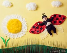 Photo series shows children with special needs in dreamy scenes In one photo, the photographer transformed a child's breathing trach and headwear into an oxygen line from a spaceship and space helmet. Monthly Baby Photos, Newborn Baby Photos, Newborn Pictures, Baby Boy Newborn, Baby Pictures, One Photo, Baby Ladybug, Photo Souvenir, Foto Baby