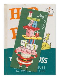 Forgotten Bookmark - Christmas card found inside Hop on Pop, by. Dr. Seuss.