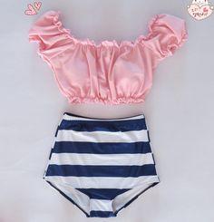 2016 Sexy Plus Size mermaid Swimsuit High Waist Bikini Shell Bra Women Push Up swimwear maillot de bain Biquini Monokini Crop Top Bathing Suit, Vintage Bathing Suits, Vintage Swimsuits, Cute Bathing Suits, Cute Swimsuits, Teen Swimsuits, Vintage Bikini, Mermaid Swimsuit, Pink Swimsuit