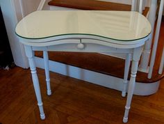 Vintage Vanity Kidney Shaped White Dressing Table Desk Removable Glass Top  Free Shipping