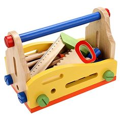 ce5793b73caf Amazon.com  Arshiner Toddler Kids Wooden Multi Functional Nut Combination  Toys Building Tool Set  Toys   Games