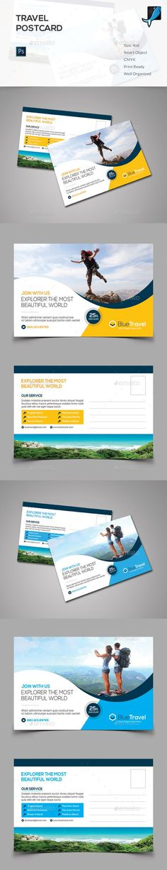 Travel Postcard — Photoshop PSD #simple #multipurpose • Available here → https://graphicriver.net/item/travel-postcard/14880751?ref=pxcr