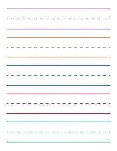 Kindergarten Lined Paper, Writing Paper Kindergarten, Preschool Homework, Preschool Learning, Learning Activities, Teaching, Handwriting Practice Free, Handwriting Template, Writing Practice Worksheets