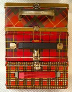 Had one with a thermos to carry my lunch to school, loved it. ~ tartan lunch boxes