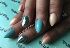 Chrome teal and nude almond shaped nails