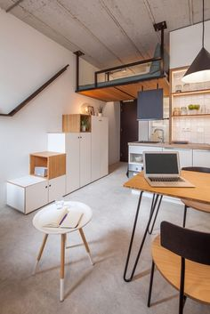 Tapped to convert an office building into 218 student apartments for Erasmus University in Rotterdam, South Holland, Amsterdam–based Standard Studio faced the challenge of turning 194 square feet into a comfortable student home. Student Home, Student Apartment, Apartment Design, Apartment Living, Living Room, Student Living, Apartment Therapy, Rotterdam Apartment, Modern Tiny House