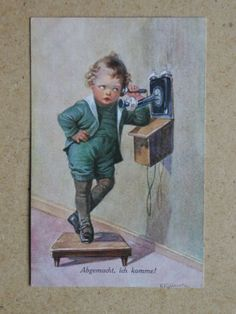 Young-Boy-amp-Telephone-Wally-Fialkowska-1920s-German-Art-PC-ref-PC7-18