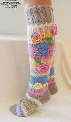 Warm and Cozy Pastels Crochet Socks, Knitting Socks, Hand Knitting, Knitting Patterns, Knit Crochet, Thigh High Socks, Knee Socks, Thigh Highs, Rainbow Socks