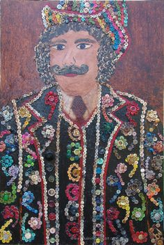 """The Button Man. Mixed media on canvas. 91.4cm x 61cm. Whimsically decorated in colorful buttons,portrait a play on the """"pearlies of London"""" an organization which had roots at the turn of the 19th-20th C. in England. Working men & women who """"resented the life of the Royals"""" so  created a royal class of their own. They decorated old Tuxedos, Ballgowns & hats w/white pearl buttons in ornate designs...elected a King & Queen, a title past down through generations.  bjtuiningafineart@yahoo.com"""