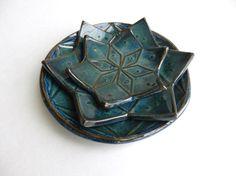 Ceramic Mandala Bowls - set of 3,pottery bowls clay bowl handmade ceramics and pottery yoga dish stoneware plate nesting bowl star dish
