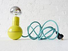 Retro Atomic Mid-Century Wobble Ball Light with Aqua Green Blue Color Cord
