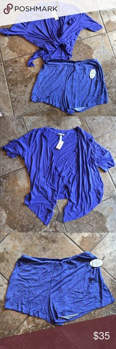 """NWT Soma women's two piece pajama set, M NEW with tags, women's pajama set, Soma brand. """"Cool Nights"""" fabric is lightweight and soft. Size medium. Perfect for summer! Originally $77! Purchased at outlet for $45!  Includes: -slip on shorts, elastic waistband, silk blend material, blue geo pattern, flowy/loose style. -short sleeve top, open cardigan/robe style, can be worn tied or undone, silk blend material, blue color, fit is loose but if tied would be form fitting. Will require a tank or…"""