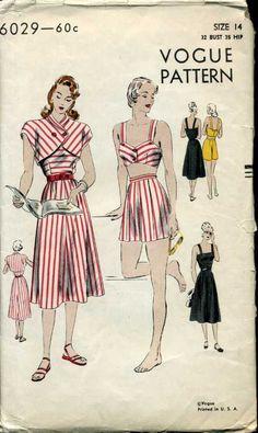 Vogue 6029 circa 1947 dress, bolero, shorts, & bra