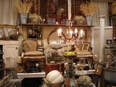 Monticello Antique Marketplace love the big long shelf for height and display