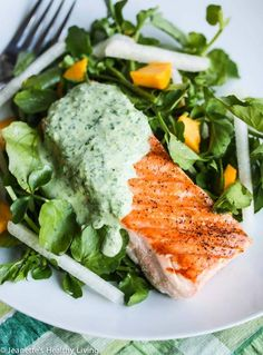 Grilled Salmon with Herb Yogurt Sauce - this deliciously light and healthy meal is perfect for celebrating Spring ~ http://jeanetteshealthyliving.com