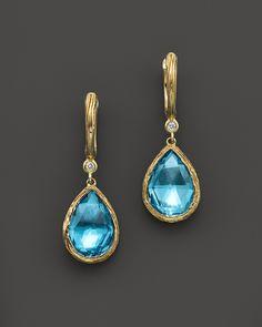 Blue Topaz Teardrop Earrings with Diamonds in 14K Yellow Gold