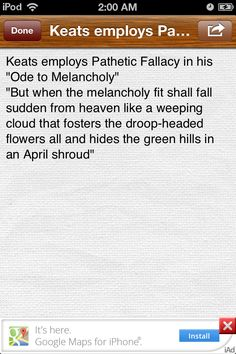 """this quote shows the feeling of melancholy which has been described by attributing a human emotion """"weeping"""" to the """"clouds"""". Also, it shows the sadness and depression that befell the character when the flowers started to hanging down and when the cloud was formed in the sky."""