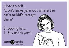 Note to self.... 'Don't leave yarn out where the cat's or kid's can get them'. Shopping list.... 1. Buy more yarn!