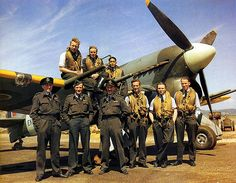 Pilots of no. 257 Sqn. based at Warmwell pose in front of a Typhoon in August 1943