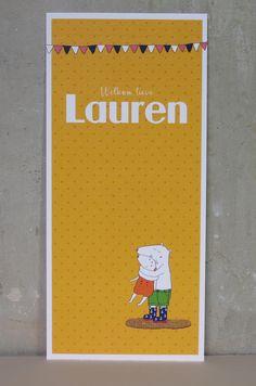 Geboortekaartje Lauren, vlaggetjes