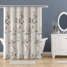 Andover Mills Trent Printed Single Shower Curtain Color: Off-white Shower Curtain Rods, Bathroom Shower Curtains, Bathroom Ensembles, Budget Bathroom, Bathroom Ideas, Bathroom Stuff, Shower Liner, Grey Bathrooms, Colorful Curtains