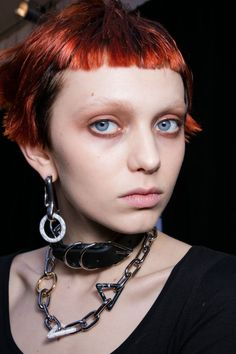 "This season's iteration of the Wang raver girl wore ruddy eye shadow and mascara-free lashes. ""She's been up all night partying,"" said makeup pro Diane Kendall who offset hangover eyes with warm cheeks, and for some models, bleached brows. The Kit: NARS Velvet Shadow Stick in Dark Angel and Flibuste. Cream Blush in Penny Lane."