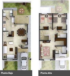 Small House - Two Floor Duplex House Plans, Dream House Plans, Modern House Plans, Small House Plans, House Floor Plans, Home Design Plans, Plan Design, The Plan, How To Plan