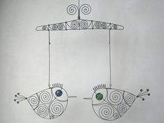 The wire mobile consists of a 26-cm-wide wire hanger and 2 wire birds hanging from it.  Both the blue-eyed wire bird and the green-eyed one measure 19
