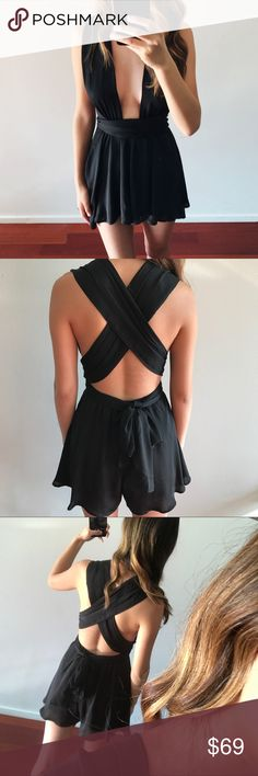 """Plunging Halter/ Criss Cross Back Romper Incredibly flattering and body-hugging romper with plunging halter front and criss cross back. Perfect for date nights, lunch dates, vacations, or any other event to fit the mood of this flirty number! Looks and feels silky/luxurious. Very high quality. I went bra-less for this look, and nothing peeked through. 100% polyester, 100% rayon lining.  Modeling a size S [2.5"""" inseam, 15"""" long (shorts portion)] My measurements- 5""""8, 24/25 waist, 32B. Dresses…"""