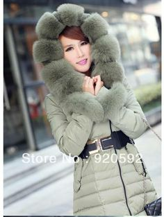 61f6bd85870e Free shipping 2013 winter thick extra large fur collar down coat duck  feather women s medium-