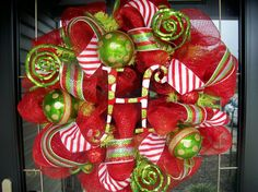 front door christmas wreath with deco mesh