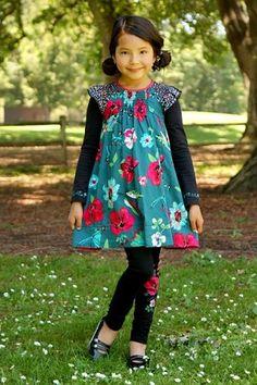 Catimini Teal/Raspberry Floral Smocked Dress