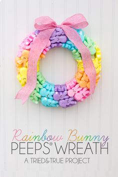 Peeps Wreath  For colorful Easter decor, use toothpicks to pin Peeps down to a styrofoam wreath.   Get the tutorial at Tried and True.
