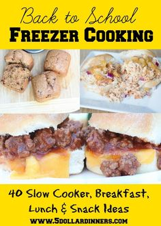 Back to School Freezer Cooking ~ 40 Freezer Friendly Slow Cooker Meal, Breakfast, Lunch & Snack Ideas - Sandwich Recipes - Batch Cooking, Freezer Cooking, Freezer Meals, Cooking School, Freezer Recipes, Budget Recipes, Frugal Meals, Slow Cooking, Slow Food