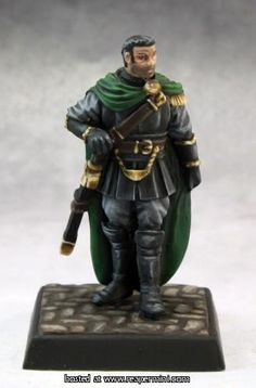 A metal miniature of a male knight captain. Designed to be used in games like Dungeons & Dragons and Pathfinder; however, can be used in other board games like Monopoly or Clue.