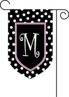 Polkadot Black Initial Garden Flag : 2PreppyGirls.com, Monogrammed Gifts