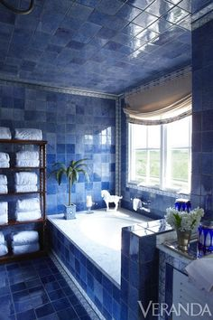 We're loving the cool blues of this bath.